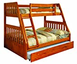 Cheap Discovery World Furniture Twin Over Full Bunk Bed with Twin Trundle, Honey