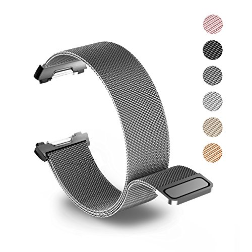 Tecson Magnetic Bands Compatible Fitbit Ionic, Stainless Steel Metal Milanese Loop Replacement Strap with Magnet Lock for Fitbit Ionic Smartwatch, Smoke Gray
