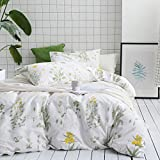Wake In Cloud - Botanical Duvet Cover Set Queen, 100% Soft Cotton Bedding