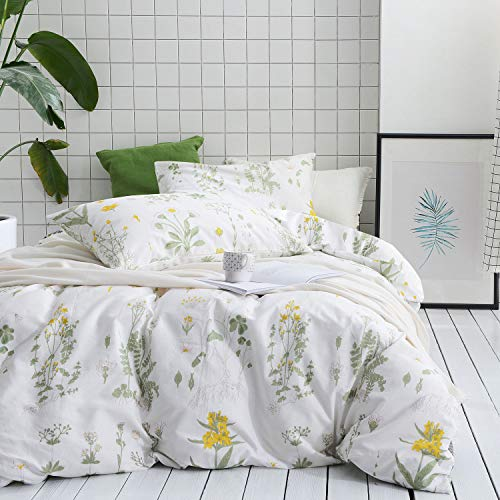 Garden Duvet Set - Wake In Cloud - Botanical Duvet Cover Set, 100% Cotton Bedding, Yellow Flowers and Green Leaves Floral Garden Pattern Printed on White (3pcs, Full Size)