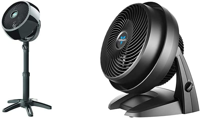 Vornado 7803 Large Pedestal Whole Room Air Circulator Fan with Adjustable Height, 3 Speed Settings, Removable Grill for Cleaning, Black & 630 Mid-Size Whole Room Air Circulator Fan