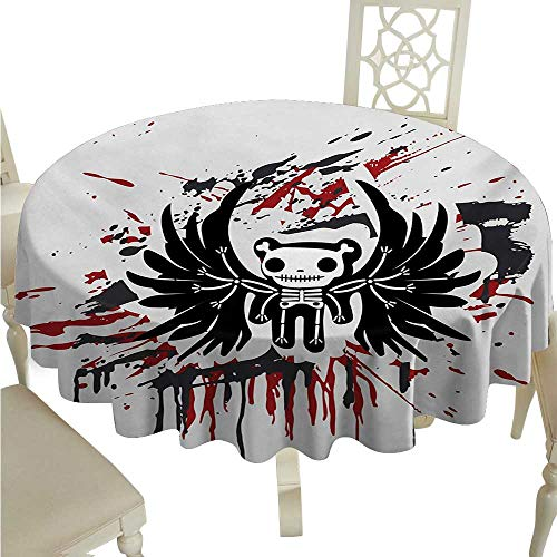 Halloween Round Polyester Tablecloth Teddy Bones with Skull Face and Wings Dead Humor Funny Comic Terror Design Washable Polyester - Great for Buffet Table, Parties, Holiday Dinner, Wedding & More -