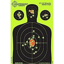 Splatterburst Targets 12 x 18 inch - Silhouette Reactive Shooting Target - Shots Burst Bright Fluorescent Yellow Upon Impact - Gun - Rifle - Pistol - AirSoft - BB Gun - Air Rifle