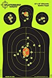 Splatterburst Targets - 12 x 18 inch Silhouette Target - Instantly See Your Shots Burst Bright Florescent Yellow Upon Impact - Gun - Rifle - Pistol - Airsoft - BB Gun - Pellet Gun - Air Rifle