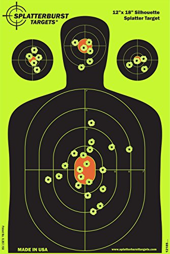 Splatterburst Targets - 12 x18 inch - Silhouette Reactive Shooting Target - Shots Burst Bright Fluorescent Yellow Upon Impact - Gun - Rifle - Pistol - Airsoft - BB Gun -