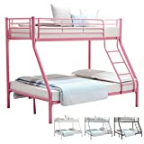 UEnjoy Bunk Beds Triple Sleeper Bed for Adult and Children (Pink 75.2'*52'*65.4')