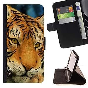 BullDog Case - FOR/HTC Desire 820 / - / tiger sad sleepy tired big feline cat /- Monedero de cuero de la PU Llevar cubierta de la caja con el ID Credit Card Slots Flip funda de cuer