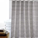 White and Grey Curtains Eforcurtain Striped Mildew-Free Water-Repellent Fabric Shower Curtain,Grey/gray White,Standard Size (72-inch by 72-inch)