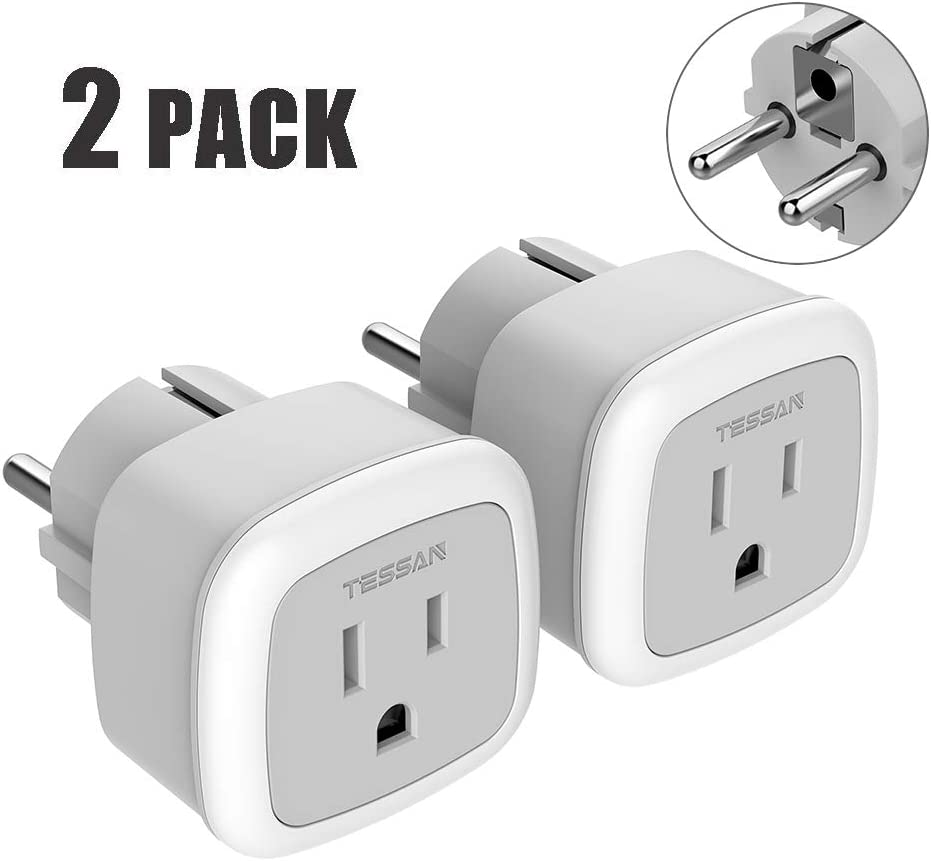 UAE 2 Pack Russia Universal Travel Plug Adapter Type C for Europe