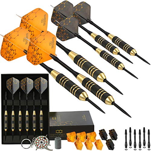 (Professional Steel Tip Darts Set - Custom Shaft and Flight Setup | 6 Brass Barrels | 12 Aluminum Shafts 35/48mm | 12 Flights Standard/Slim | Darts Sharpener | Darts Tool and Case (Molecular 22g))