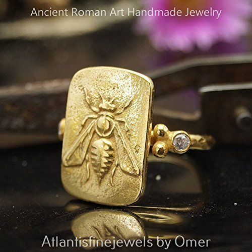 Designer Jewelry Set Band - Bee Coin Ring Roman Art Handmade Sterling Silver By Omer 24k Gold Vermeil