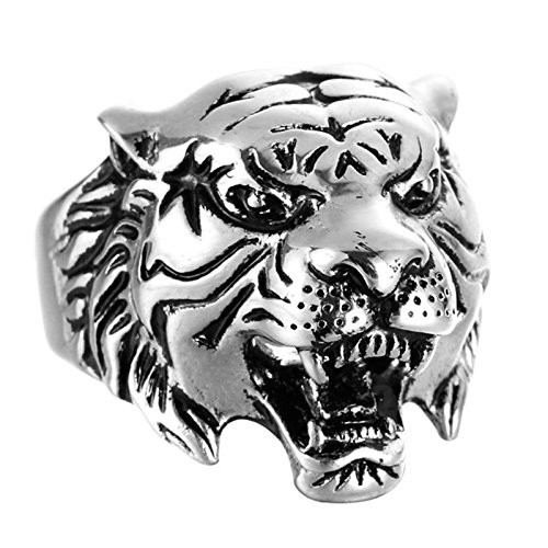 Beydodo Jewelry Titanium Rings for Men, Silver Animal Head Tiger Ring Bands Size 9 Mens Ring Fashion