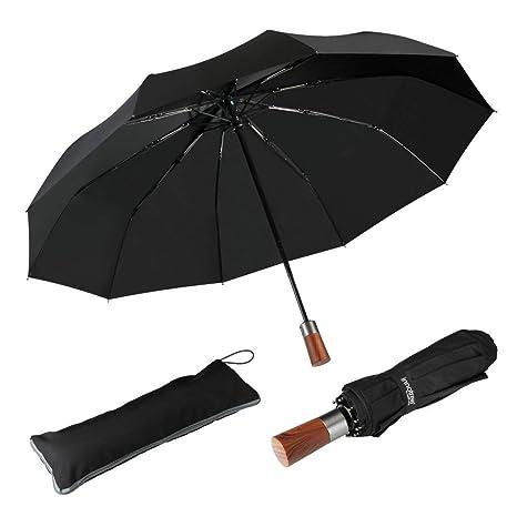 Paraguas plegable automático paraguas clásico plegable de viaje, a prueba de viento 60 Mph,