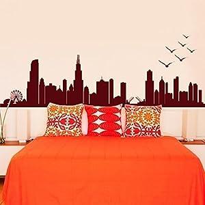 Amazoncom wall decal decor chicago skyline silhouette for Good look chicago skyline wall decal