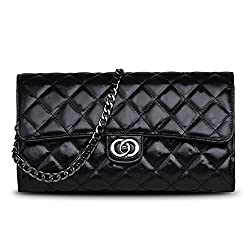 Ainifeel Women's Genuine Leather Quilted Clutch Bag Purse With Chain Strap (Pink)