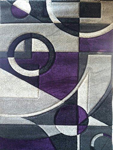 Contempo Modern Area Rug Purple & Grey 400,000 Point Design 322 (5 Feet 2 inch X 7 Feet 3 Inch .) (Dark Purple Carpet)