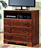 Sierra Sleep by Ashley Ashley Furniture Signature Design - Timberline Media Chest - 3 Drawers - Vintage Casual - Warm Brown
