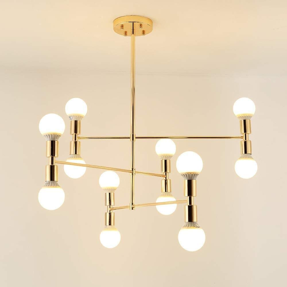SUN HUIJIE Nordic LED Chandeliers, European Multi-Head Golden Iron Asymmetric Decorative Chandelier Ceiling Lamps Post-Modern Living Room Dining Table Cafe Pendant Light