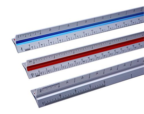 12 Inch Triangular Architect Scale and Aluminum Color-Coded Groves Engineer Scale Ruler Set ( Imperial, 12'')