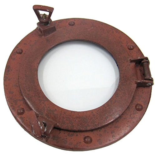 Firefly Home Collection Light Rust Finish Aluminium Porthole Wall Decor with Mirror, 9-Inch 87180