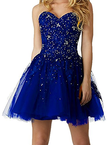 Cocktail Royal Lace Short BD379 Blue Ball Strapless Tulle Gown Dresses Sequins BessDress Homecoming q50UnP