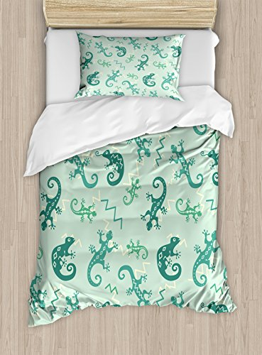 Ambesonne Reptile Duvet Cover Set Twin Size, African Exotic Lizards Chameleons Leaping Illustration Nature Reptiles Kids Nursery, Decorative 2 Piece Bedding Set with 1 Pillow Sham, Green Mint - African Lizard
