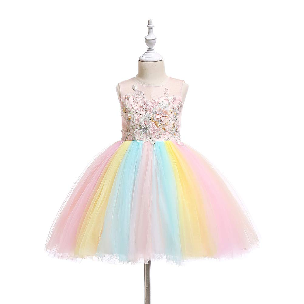 d79fd81cc464 Amazon.com: Girls Rainbow Unicorn Dress up Costume Puffy Tulle Skirt + Horn  Headband Birthday Outfit Wedding Party Dresses for Kids: Clothing