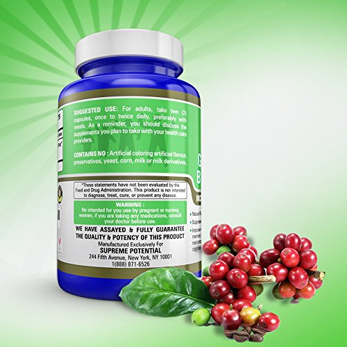 Supreme Potential 100% Pure Green Coffee Bean Extract for Natural Weight Loss and Metabolism Support - 800mg Capsules - 180 Capsules - 90 Day Supply - Manufactured in USA. by Supreme Potential (Image #3)
