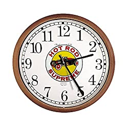 The Furniture Cove New Espresso/Cappuccino Finish Round Wall Hanging Clock featuring Hot Rod Supreme Logo