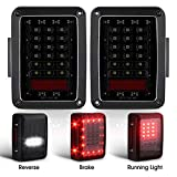 2x Smoked LED Tail Lights for 2007-2017 Jeep Wrangler Tail Lamp Brake Reverse Light Rear Back Up Turn Singal Lamp Daytime Running Lights DRL