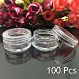 Transer 100 Pcs 3 Gram Clear Empty Plastic Cosmetic Samples Container for Make Up, Eye Shadow, Nails, Powder, Gems, Beads, Jewelry, Cream Small Clear Pot Jars with Lid (Clear - 3g, 100 Pcs)