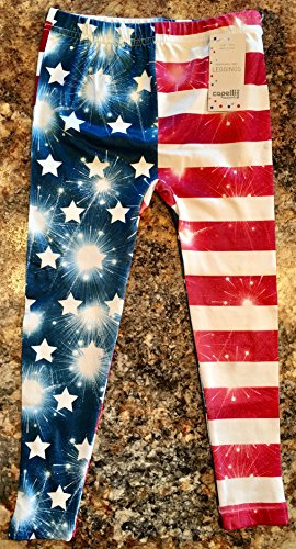 (CHILDRENS GIRLS 4TH OF JULY LEGGINS SIZE SMALL 12-14 LEGGINS LEGGINGS FIREWORKS FIRE CRACKERS)