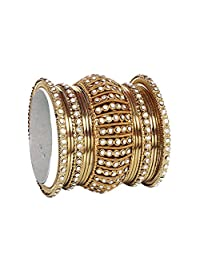 Traditional Antique Gold Plated Indian Ethnic Blue Bangle Set for Women Wedding wear 17 pcs Bangles