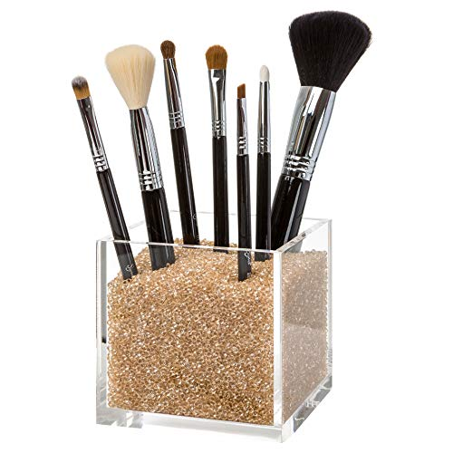 Pretty Display Luxury Acrylic Makeup Brush Holder with Gold Diamonds: #1 Counter Top Makeup Brush Cup Organizer. Includes Over 50,000 Sparkling Crystal Beads to Organize Your Brushes Beautifully