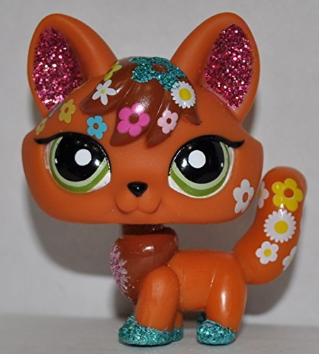 Fox #2341 (Glitter) - Littlest Pet Shop (Retired) Collector Toy - LPS Collectible Replacement Single Figure - Loose (OOP Out of Package & Print) ()