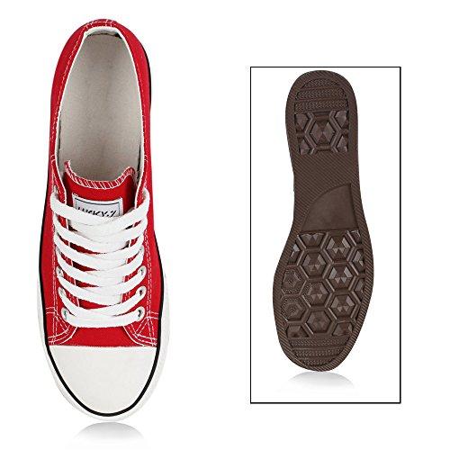 Herren Sneakers Freizeitschuhe Sportschuhe Schnürer Stoffschuhe Fitness Streetstyle viele Farben Flandell Rot Ambler