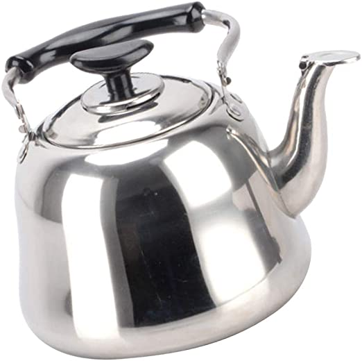 1L Stainless Steel Tea Kettle Stove Top Kettle Metal Teapot Kitchen Black
