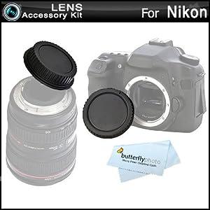 Rear Lens Cap and Camera Body Cover Cap for NIKON DSLR Cameras Nikon Df, D7100, D7000, D5200, D5300, D3300, D5100, D3200, D3100, D800, 810, D700, D600, D610, D300S, D90, D750, D7200 Digital SLR Camera
