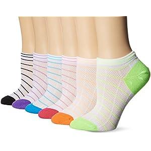 Hanes Women's 6-Pack Invisible Comfort Scoop Cut No Show Sport Liner, White Stripe Asst, 5-9