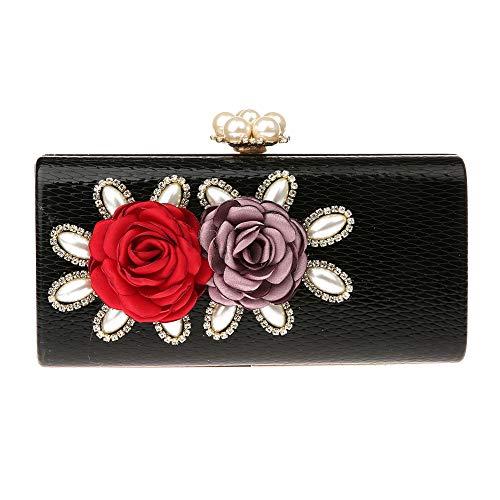 Lined Snakeskin Clutch (EPLAZA Snakeskin Pattern Clutch Purse Floral Evening Handbag Beaded Rhinestone Bags For Bride Wedding Party Prom (black))