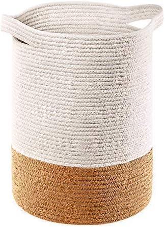 MANGATA Extra Grande Juguete para bebé Canasta de Almacenamiento Algodón Cuerda Tejida, Suave Tela Plegable Cestas de lavandería con Asas (Yute & Blanco - Alto): Amazon.es: Hogar