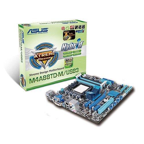 ASUS Socket AM3/AMD 880G/SATA3&USB3.0/Hybrid CrossFireX/A&V&GbE/Micro ATX Motherboard s M4A88TD-M/USB3
