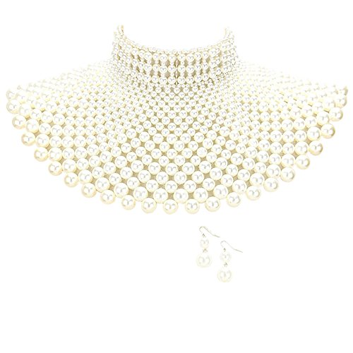 Sensibling Egyptian Pearl Armor Bib Choker Chain Style Statement Necklace and Pearl Earrings Set (Cream) (Cream Bib)