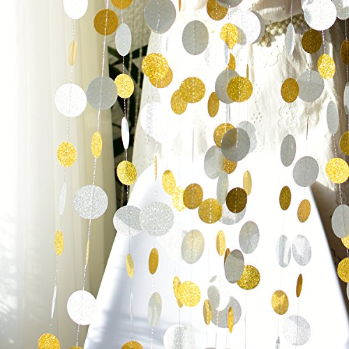 Hanging Glitter Silver Gold Circle Dots Garlands Banners Photo Backdrop-52 FEET/4 Pack- for Christmas, Wedding, Bridal Baby Shower, Birthday, Bachelorette Party Decorations