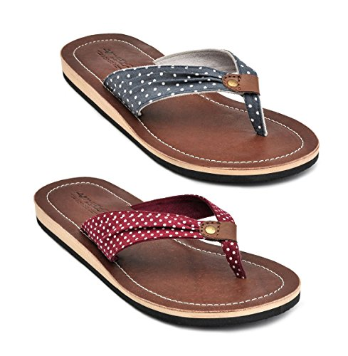 Amboss Damen Sandale, Zehentrenner mit Echt Leder Gr.36-43 Rockabilly Farbe Blau, Rot Rot