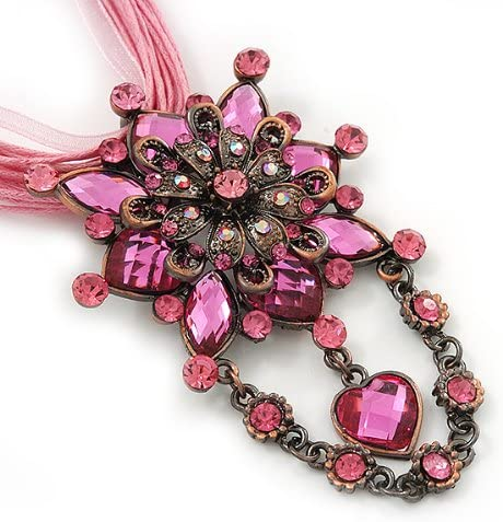38cm Length// 7cm Extension Avalaya Pink Statement Diamante Charm Pendant Cord Necklace in Bronze Metal