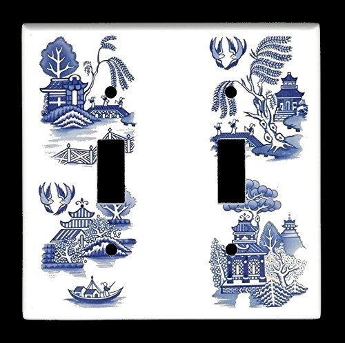 Double Toggle (2-toggle) Light Switch Plate Cover - Vintage-look Blue Willow Blue Double Light Switchplate