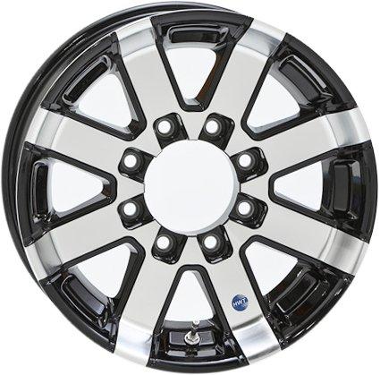 16x6 Hi Spec HWT Series 07 Black Inlay Aluminum Trailer Wheel 8 on 6.5 Lug, 3,960 lb Max Load