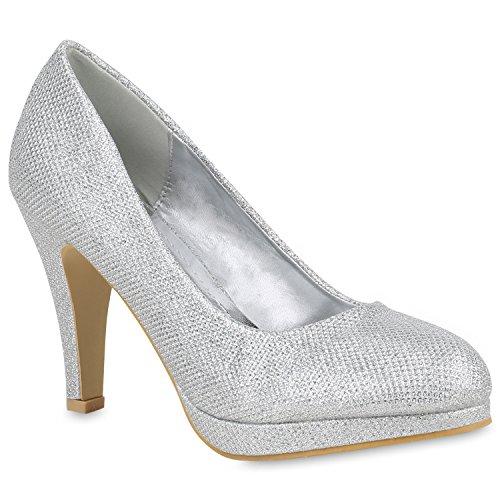 Stiefelparadies Klassische Damen Pumps Stiletto High Heels Leder-Optik Schuhe Flandell Silber Avion