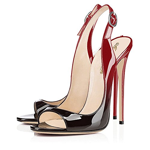 Modemoven Vrouwen Lakleren Pumps, Peep Toe Hakken, Slingback Sandalen, s Avonds Schoenen, Schattige Stiletto Gradiëntrood